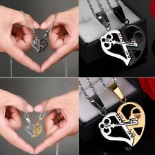 2pc His and Her Stainless Steel Love Heart Key Lock Couple Pendant Necklace Gift