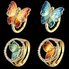 1Pc Charm Gold Tone Crystal Enamel Butterfly Ring Women Lady Jewelry Gift 2018
