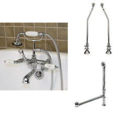 Tub Wall Faucet with Drain and Supply with Porcelain Lever Handles