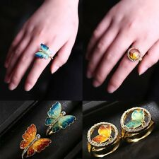 Vintage Women's Animal Butterfly Wing Crystal Finger Ring Party Jewelry Gift