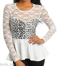 Off White/Leopard Lace w/Contrast Sweetheart Long Sleeve Peplum Style Top