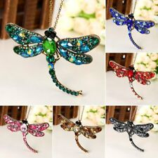 Vintage Rhinestone Crystal Dragonfly Long Chain Brooch Pin Necklace Jewelry Gift