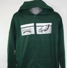 NEW Mens MAJESTIC Philadelphia Eagles NFL Football Green Full Zip Up Hoodie