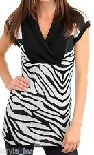 White/Black Zebra Cap Sleeve Vee Neck Cardigan/Sweater Top S/M/L