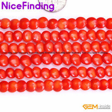 """6mm Coin Orange Pink Red Coral Loose Stone Beads For Jewelry Making Strand 15"""""""