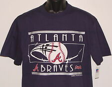 Vintage 1992 MLB Atlanta BRAVES RUSSELL Blue T-Shirt NWT NEW Old Stock M, L, XL