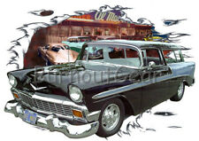 1956 Black Chevy Nomad Wagon Custom Hot Rod Diner T-Shirt 56 Muscle Car Tee's