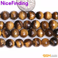 8,10,12mm Natural Faceted Yellow Tiger Eye Round Stone Beads Jewelry Making 15""