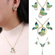 Women Fashion Crystal Pearl Enamel Butterfly Necklace Earrings Jewelry Set Gift