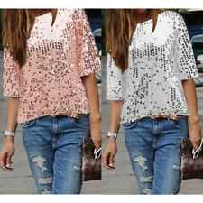 Womens Short Sleeve One Shoulder Sexy Glistening Sequin Top Blouse