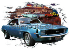 1969 Blue Chevy Camaro c Custom Hot Rod Diner T-Shirt 69 Muscle Car Tees