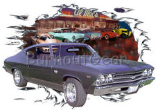 1969 Gray Chevy Chevelle SS a Custom Hot Rod Diner T-Shirt 69 Muscle Car Tees