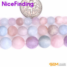 6,8,10mm Natural Frosted Matte Multi Color Quartz Stone Beads For Jewelry Making