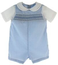 Infant Boys Blue Gingham Smocked Romper Outfit | Petit Ami Clothes
