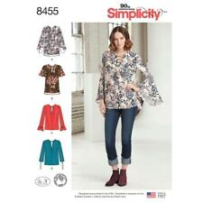 SIMPLICITY SEWING PATTERN MISSES PULLOVER BLOUSE SLEEVE VARS B-DD CUPS 4-20 8455