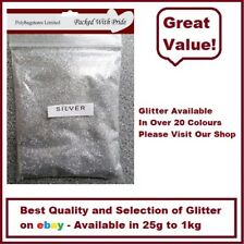 SILVER GLITTER - BULK PACKS - NAIL ART - WINE GLASS - ARTS & CRAFTS 100g - 1Kg