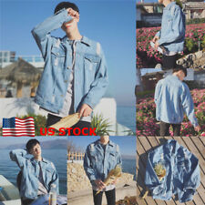 US Men Coat Casual Overcoat Button Pocket Jeans Denim Jacket Outwear jeanswear