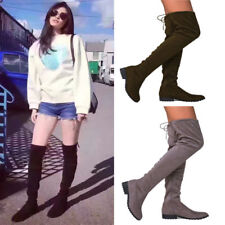 Women's Suede Zip Flat Over The Knee Boot Ladies Lace Up Zipper Slim Thigh Shoes