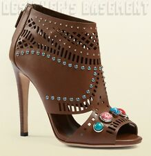 GUCCI brown leather LIKA Laser-Cut STONE detail Ankle Boots NIB Authentic $1195!