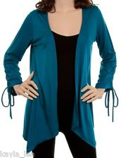 Teal Ruched L/S Shrug/Cover-Up Drape Scarf Tunic Cardigan