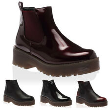 WOMENS PLATFORM CHUNKY SOLE LADIES ELASTIC ANKLE CHELSEA BOOTS SHOES SIZE 3-8