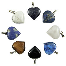 5-100 Pcs Puff Heart Gemstone Natural Crystal Reiki Healing Charms Pendants 18mm