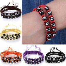 2Pcs Fashion Handmade Braided HERONE HIS ONLY Bracelets Wristband Couple Gifts