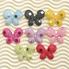 "80 pcs x 1"" Mix Padded Shiny Polka Dot Felt Butterfly Appliques for Bows ST570"