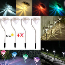 4 Pcs LED Solar Power Outdoor Walkway Garden Path Cited Lights Fence Lamp Decor