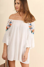 UMGEE Loose Floral Embroidered Tunic Top Crochet Lace Detail Off Shoulder