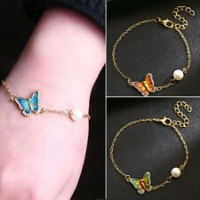 Vintage Women Butterfly Crystal Pearl Chain Bangle Bracelet Wedding Jewelry Gift