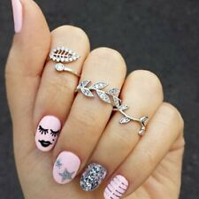 3Pcs/set Women Charm Gold/Silver Rhinestone Leaf Above Knuckle Finger Rings Gift