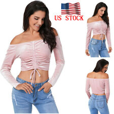 US Womens Lace Up Strappy Crop Tops Ladies Off Shoulder Sexy Tee Blouse Shirts
