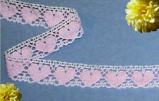 """Lace Trim Pink Crocheted 4-8 Yards Hearts 7/8"""" Cotton O74V Added Trims ShipFree"""