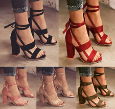 Womens Block High Heels Lace Up Ankle Sandals Open Toe Pumps Casual Shoes Size