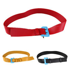 Womens Girls PU Leather Skinny Buckle Thin Elastic Stretch Waist Belt Waistband
