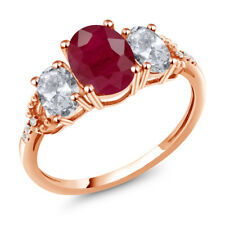 2.64 Ct Oval Red Ruby White Topaz 10K Rose Gold Diamond Accent Ring