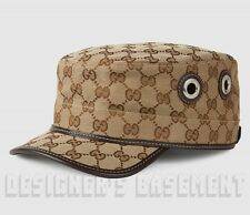 GUCCI beige Original GG canvas Grommets Horsebit buckle MILITARY hat NWT Authent