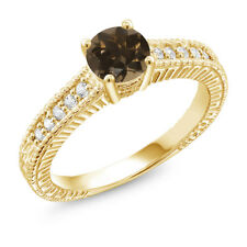 0.95 Ct Round Brown Smoky Quartz 18K Yellow Gold Plated Silver Ring