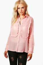 Boohoo Womens Evie Ruffle Front And Cuff Shirt