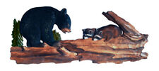 Bear and Raccoon in Tree Hand Crafted Intarsia Wood Art Wall Hanging 11 X 34 X 3