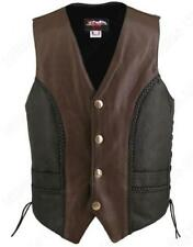 Made in USA Black and Brown Two Tone Naked Leather Buffalo Nickel Biker Vest Bra