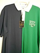 NAUTICA NORTH POLO SHIRT SHORT SLEEVE NAVY/GR Size:X-Large 100% COTTON MENS #426