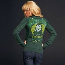 Affliction STARS AND BARS Womens Track Jacket M NWT NEW Green Sweatshirt Skull