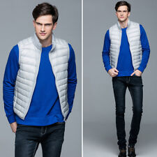 Mens Ultralight Duck Down Vest Sleeveless Puffer Jacket Coat  Waistcoat Packable