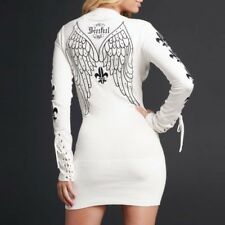 Sinful LENOX Womens V-Neck Sweater Top S NWT NEW Affliction Shirt Wings White