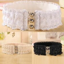 Belt Waist Elastic Belt Corset Lace Waistband Buckle Wide Stretch Womens O0142