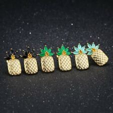 Women Girls Fashion Lovely Gold CZ Pineapple Ear Stud Earrings Jewelry Gift New