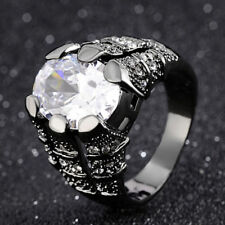 Mans New Jewelry White Sapphire Black Gold Filled Wedding Ring Gift Size 8-11