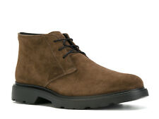 Hogan men's ankle lace up desert boots in brown suede leather made in Italy